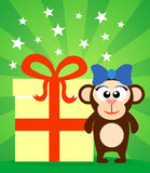 Holiday card with monkey Stock Image