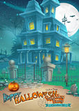 Holiday card with a mysterious Halloween haunted house and scary pumpkin.  Stock Photos