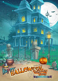 Holiday card with a mysterious Halloween haunted house, scary pumpkin, hat and magic potion.  Royalty Free Stock Photography