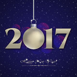 Holiday card for New Year and Christmas 2017. Holiday card with silver matte christmas ball and 2017 for greeting with New Year and Christmas on blue night Royalty Free Stock Photos