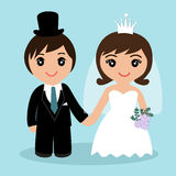 Holiday card with the newlyweds. Wedding card with the newlyweds on a blue background. Bride and groom. Also suitable for invitation card. Vector illustration Stock Photo