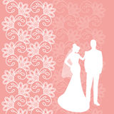 Holiday card with the newlyweds Royalty Free Stock Photo