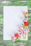 Holiday Card with Paper and Flowers Stock Image