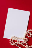 Holiday card with pearls Royalty Free Stock Photography