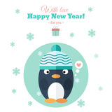 Holiday card with penguin in flat vector illustration