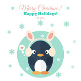 Holiday card with penguin in flat royalty free illustration