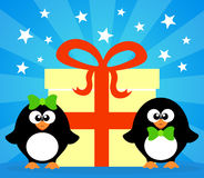 Holiday card with penguins Stock Image