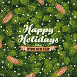 Holiday card a pine branches Royalty Free Stock Photo