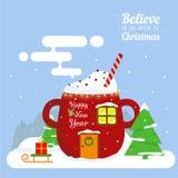 Holiday Card Print Christmas cup stock illustration