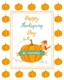 Holiday card with pumpkin and cute bird for Thanksgiving day Stock Photo