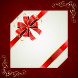 Holiday card on red background. Red background with card and holiday bow, illustration Stock Photos