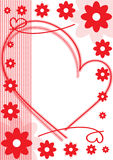 Holiday card of red flowers and hearts Stock Photo