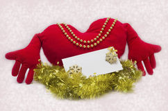 Holiday card with a red heart Royalty Free Stock Images