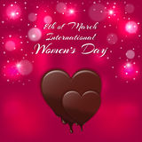 Holiday card with a red heart and melting chocolate inscription International Women`s Day on 8 March. Stock Photos