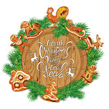 Holiday Card with round wooden frame,  fir tree branches, xmas g. Ingerbread,   on white background. Hand written calligraphic text Merry Christmas and Happy New Stock Photography