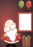 Holiday card - Santa Claus with gifts. With balloons Royalty Free Stock Photography