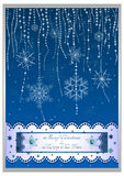 Holiday card in scrapbooking style for greeting with Christmas and New Year. Holiday card with garland of snowflakes on dark blue backdrop in scrapbooking style Royalty Free Stock Photos