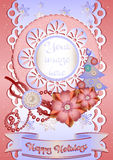 Holiday card in scrapbooking style for greeting with Christmas and New Year. Holiday card with scrap elements in pink and light blue colors in scrapbooking style Royalty Free Stock Photography