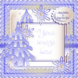Holiday card in scrapbooking style for greeting with Christmas and New Year. Holiday card with snow lawn in blue colors in scrapbooking style for greeting with Royalty Free Stock Photos
