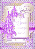 Holiday card in scrapbooking style for greeting with Christmas and New Year. Holiday card with snow lawn in mauve colors in scrapbooking style for greeting with Royalty Free Stock Images