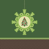 Holiday card. With snowflake in the center, and inside tree Royalty Free Stock Photos