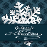 Holiday card with snowflakes and says Merry Stock Photos