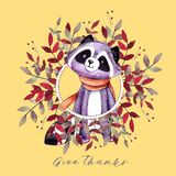 Holiday card with squirrel, autumn color leaves, mushrooms and text `Happy thanksgiving` for Thanksgiving day. vector illustration