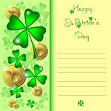 Holiday card on St. Patrick's Day. March 17 - day of good luck, fortunate shamrocks and leprechauns Royalty Free Stock Photos