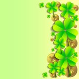 Holiday card on St. Patrick's Day. March 17 - day of good luck, fortunate shamrocks and leprechauns. Holiday card with shamrocks and coins on green background on Royalty Free Stock Photo