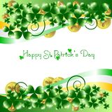 Holiday card on St. Patrick's Day. March 17 - day of good luck, fortunate shamrocks and leprechauns Stock Images