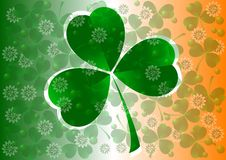 Holiday card on St. Patrick's Day. March 17 - day of good luck, fortunate shamrocks and leprechauns Stock Photos