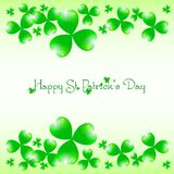 Holiday card on St. Patrick's Day. March 17 - day of good luck, fortunate shamrocks and leprechauns Stock Photo