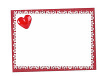 Holiday Card. St. Valentines day. Confess his love. Declaration of love, Invitation, decorated glass heart. Isolated on the white Stock Images