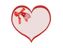 Holiday card. St. Valentines day. Confess his love. Declaration of love, Invitation, decorated plaid fabric heart and bow. Isolated on the white Stock Photo