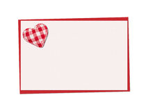 Holiday card. St. Valentines day. Confess his love. Declaration of love, Invitation, decorated plaid fabric heart. Isolated on the white Stock Photo