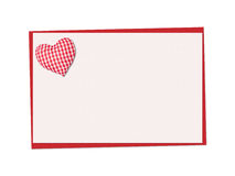Holiday card. St. Valentines day. Confess his love. Declaration of love, Invitation, decorated plaid fabric heart. Isolated on the white Royalty Free Stock Images