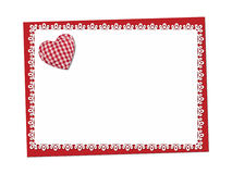 Holiday card. St. Valentines day. Confess his love. Declaration of love, Invitation, decorated plaid fabric heart. Isolated on the white Stock Photography