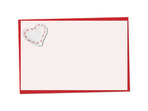 Holiday card. St. Valentines day. Confess his love, declaration of love, Invitation, decorated fabric heart. Isolated on the white Stock Image