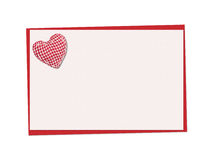 Holiday card. St. Valentines day. Confess his love, declaration of love, Invitation, decorated plaid fabric heart. Isolated on the white Stock Photography