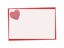 Holiday card. St. Valentines day. Confess his love, declaration of love, Invitation, decorated plaid fabric heart. Isolated on the white Royalty Free Stock Photos