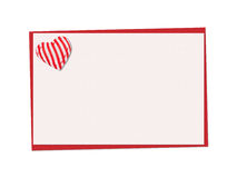 Holiday card. St. Valentines day. Confess his love, declaration of love, Invitation, decorated striped fabric heart. Isolated on the white Royalty Free Stock Photos