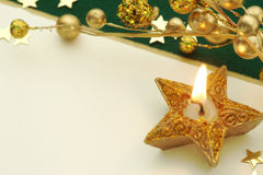 Holiday Card with star candle Royalty Free Stock Photo