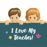 Holiday card Teachers Day. Vector holiday card Teachers Day, children smiling boy and girl, inscription in chalk on blackboard Stock Photography