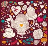 Holiday card with teapot royalty free illustration