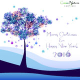 Holiday card with tree for greeting with New Year and Christmas. Greeting card with abstract winter tree in snowdrift for congratulations with Happy New Year and Royalty Free Stock Image