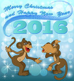 Holiday card with two monkeys who speak. Illustration holiday card with two monkeys who speak Royalty Free Stock Photos