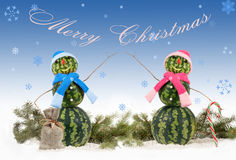 Holiday card with two watermelon Snowman  on blue background and falling snowflakes. Holiday concept of Christmas Stock Photos