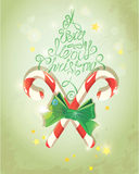 Holiday Card in vintage style with candies. Royalty Free Stock Photos