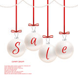 Holiday card with white balls and red bows, inscription sale. Suitable for web design and print. Royalty Free Stock Images