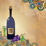 Holiday card with wine bottle, grapes, gift box Stock Photo